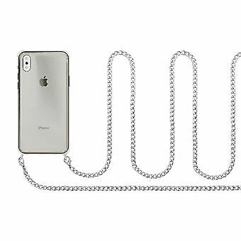 Aquarius iPhone 6 Plus / 6S Plus custodia con cavo catena collana, argento
