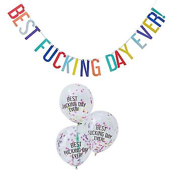 Banderoles de 2,5 m et Kit ballon «Meilleure baise jour jamais!» 5 ballons