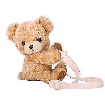 Mädchen süße Lächeln Bär Tier Schultertasche und weiche Plüsch Puppe Lolita Handtasche