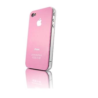 Iphone 4 og 4s Hard Plastic Cover Bagetui med Apple-logo - Pink