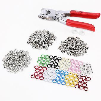 100 X Prong Ring Persnoppen Snap Popper bevestigingsmiddelen Open Ring Geen naai 9,5 mm + Tang | Dyi Ambachten | 10 kleuren