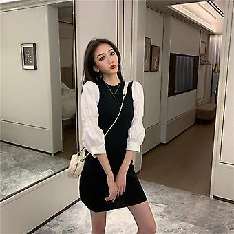 Robe de fête d'automne mini-fête femmes Puff Sleeve Knit Dress