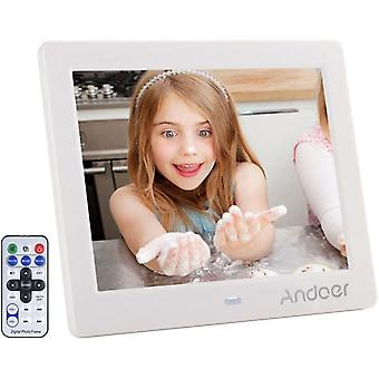 Digital Photo Frame 8 inch, Andoer HD Wide Screen High Resolution with Remote Control Electronic Pic