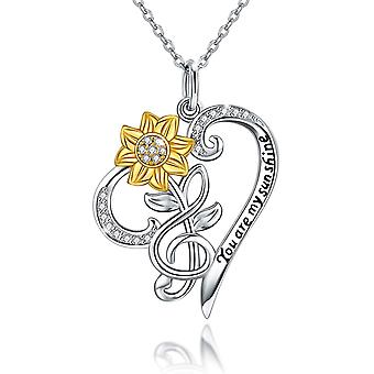 S925 Sterling Silver Sunflower Necklace for Women, You Are My Sunshine Necklace