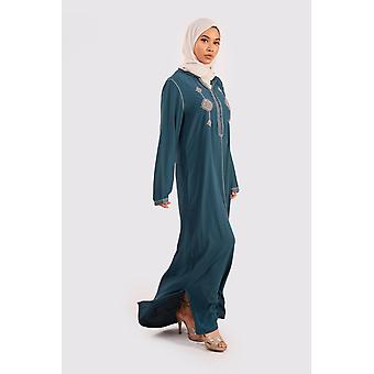 Djellaba ouarda hooded embroidered maxi dress kaftan in petrol