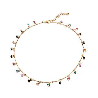 Bohemian Gold Necklace Charming Colorful Stone Chain Chockers