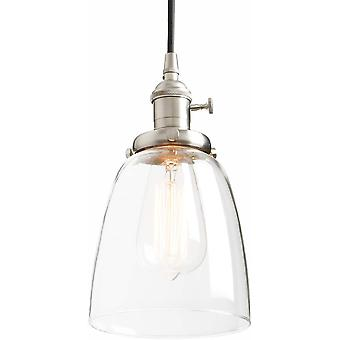 Phansthy Retro Pendant Light Industrial Vantage Lamps with Adjustable Cloth Wire Clear Glass Ceiling