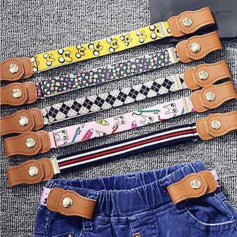 Children Accessories Snap Fastener Woven Fabric Kids Buckle Belt Elastic