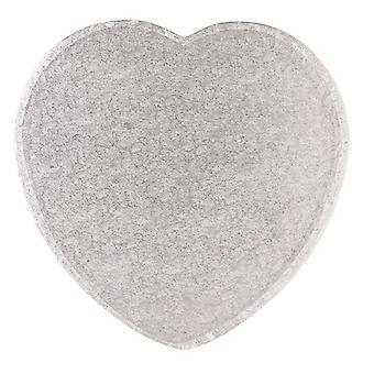 14& quot; (355mm) Cake Board Heart Silver Fern - single