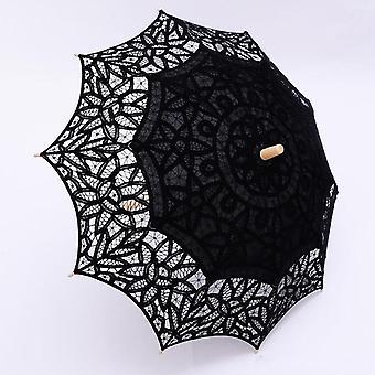 Black Lace Parasol Gothic Fancy Hollow Vintage Victorian Umbrella