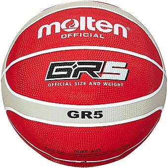 DZK Official Red/Silver Rubber Basketball - Size 5