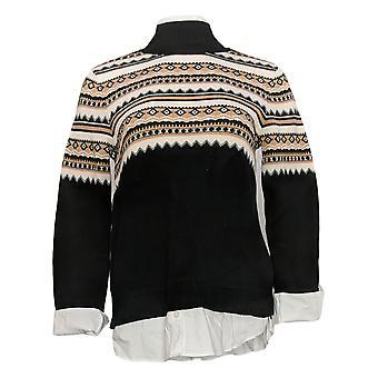 Isaac Mizrahi Live! Women's Sweater Fair Isle Jacquard Black A389124