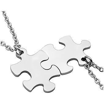PiercingJ personalisierte Gravur 2 Stcke Edelstahl 33 * 22mm Puzzle Anhnger Halskette