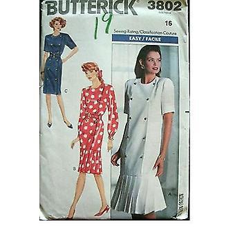 Butterick ompelu kuvio 3802 misses löysä sovitus mekko koko 14
