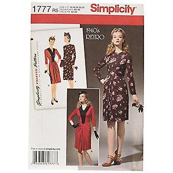 Yksinkertaisuus Ompelu kuvio 1777 Misses 1940's Vintage Mekko Koko 14-22 R5