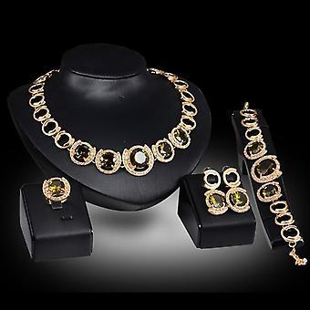 Crystal Zircon Pendant Necklace Earrings Ring Women Wedding Bridal Sets