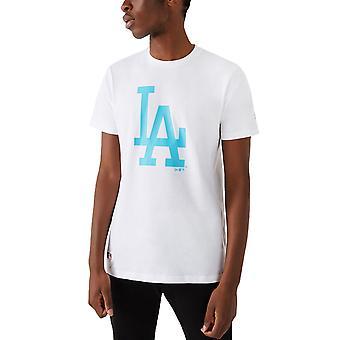 ニューエラ メンズ LA ドジャース MLB チーム ロゴ クルー ネック T シャツ トップ ティー - ホワイト