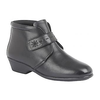 Mod Comfys Goldie Ladies Leather Touch Fasten Ankle Boots Black