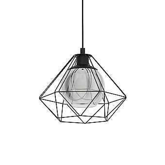 Eglo Vernham 325mm Single Pendant With Vaporized Black Transparent Glass