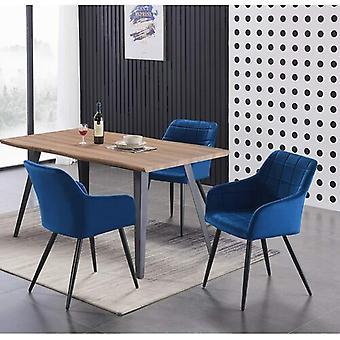 Lusso & Carmello Dining Set | Modern Dining Table | Velvet Dining Chair | Modern Set |  (oak & Blue)