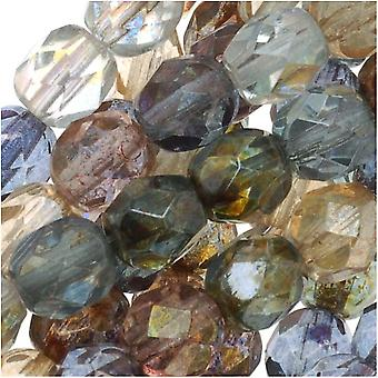 Czech Fire Polished Glass Beads 6mm Round Multi Luster Mix (25)