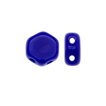 Czech Glass Honeycomb Beads, 2-Hole Hexagon 6mm, 30 Pieces, Opaque Royal Blue