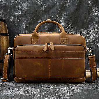 ريترو كمبيوتر محمول حقيبة حقيبة حقائب جلدية حقيقية