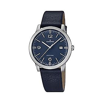 Quartz men's watch with analog display and leather strap, color: blue, 2 C4511