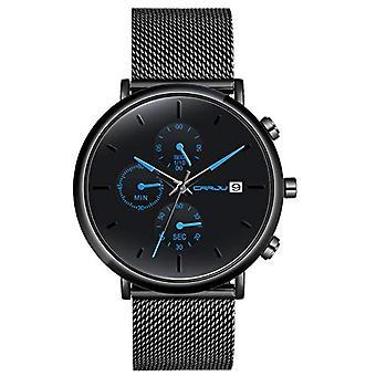 SUPBRO Minimalist black quartz men's watches with black mesh strap(2)