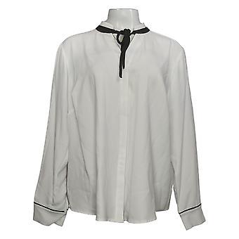 Elizabeth & Clarke Women's Plus Top Button-Front Tie Colar White A353170