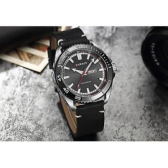 Casual Fashion Men's Wristwatch Quartz Wrist Watch Men Waterproof Black Leather Quartz Watch black