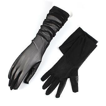 Lange Handschuhe Spitze Hochzeit Kostüm elastische Garn Handschuhe schwarz