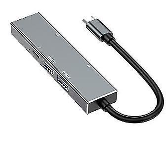 type-c naar HDMI-uitbreidingsdock, 6-in-1 hub met USB 3.0 SD/TF-ondersteuning