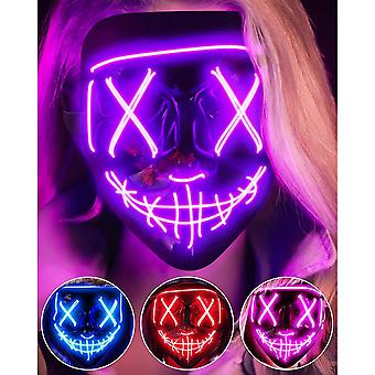 Led Halloween Face Mask For Adults Kids 3 Lighting Modes