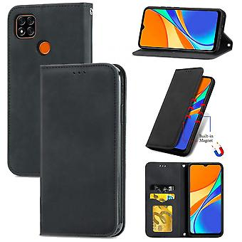 Case For Xiaomi Redmi 9c Magnetic Closure Leather Wallet Cover Housse Etui Shockproof - Black