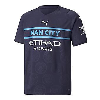 Puma Manchester City 2021/22 Kids Lyhythihainen Kolmas Jalkapallopaita Navy Blue