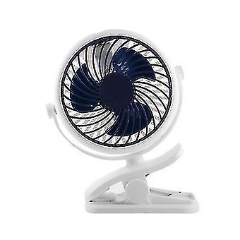 New Small Fan Mini Hanging Clip Mute Rechargeable Usb Big Wind Fan(Navy Blue)