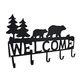 Rustic Black Bear Decorative Welcome Wall Hook