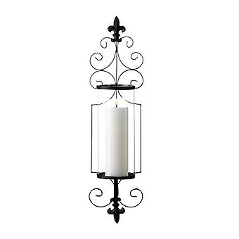 Gallery of Light Fleur de Lis Metal Wall Sconce with Glass Cylinder, Pack of 1
