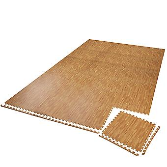 tectake Fitness gulv med 24 stykker - tre mønster