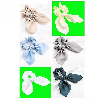 Pcs-6 Candy-colored Bunny Ear Bow Ponytail Girls Hair Ring