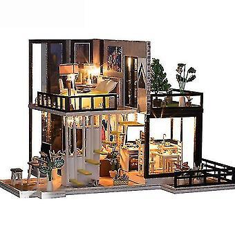 בית בובות אביזרים חמודבי diy ערכת בית בובות עץ בית בובות מיניאטורי ערכת בית ערכת קאסה מוסיקה הוביל צעצועים עבור