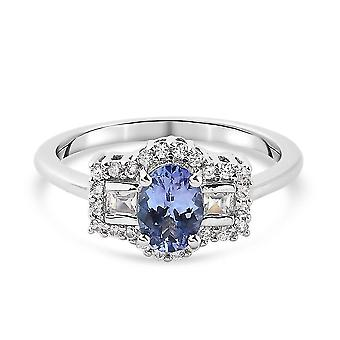 TJC Tanzanite, White Zircon Boat Ring Silver Gift for Wife/Girlfriend 3.09ct(N)