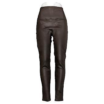 DG2 by Diane Gilman Leggings Slim & Sleek Coated Knit Brown 678576