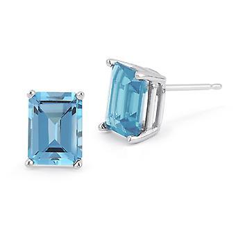 3.40 Carat Emerald-Cut Blue Topaz Stud Earrings, 14K White Gold