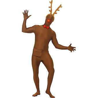 Rentier Second Skin Kostüm Set Nikolaus Stretchanzug Weihnachten