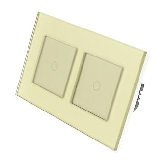 I LumoS Gold Glass Double Frame 2 Gang 1 Way WIFI/4G Remote & Dimmer Touch LED Light Switch Gold Insert
