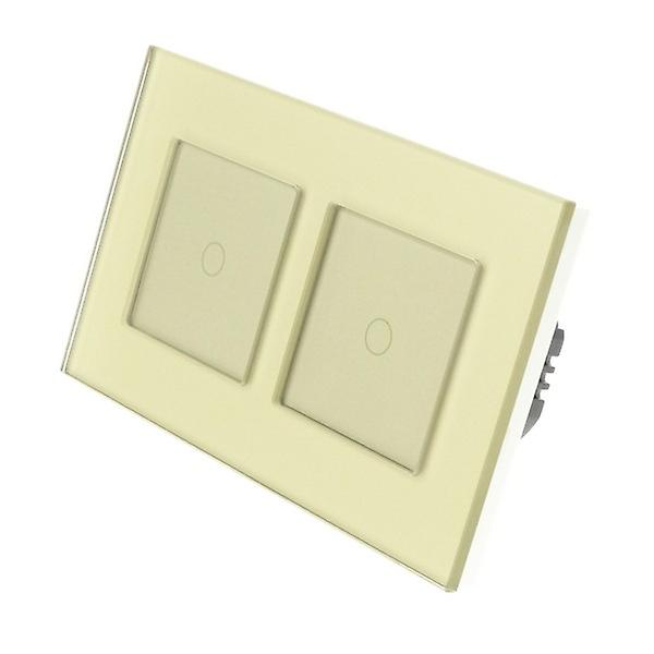 I LumoS Gold Glass Double Frame 2 Gang 2 Way Touch LED Light Switch Gold Insert