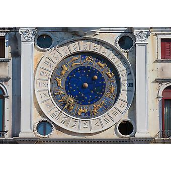 Venice Venice Province Veneto Italy The clock on the Torre dellOrologio or the Clock Tower in Piazza San Marco The tower dates from the 1490s The clock face shows the 24 hours of the day the signs of
