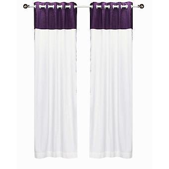Signature White and Purple ring top velvet Curtain Panel - Piece